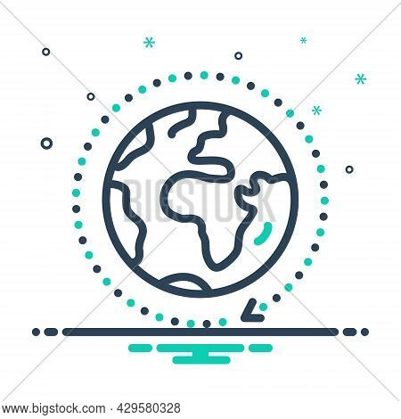 Mix Icon For Universal Gloabal World All-over Globe Spherical Model Earth Surface Planet