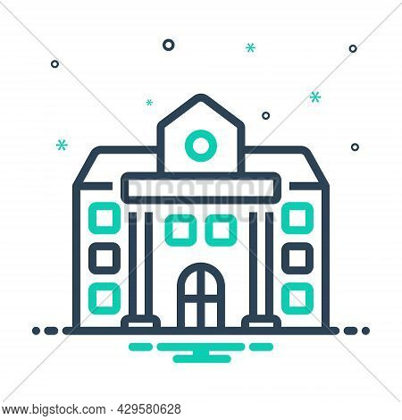 Mix Icon For University Academy Educational Institution College School Governmental Architecture Ins