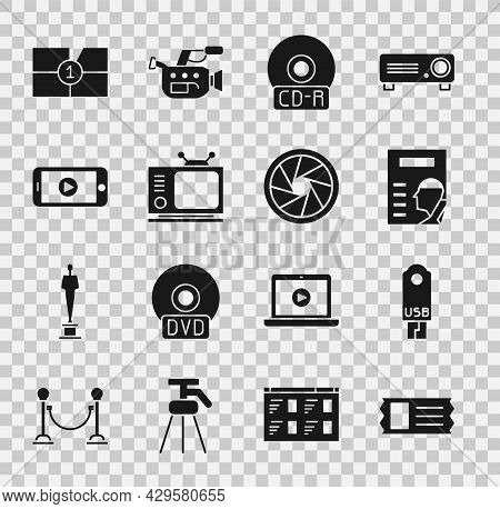 Set Cinema Ticket, Usb Flash Drive, Poster, Cd Or Dvd Disk, Retro Tv, Online Play Video, Old Film Mo