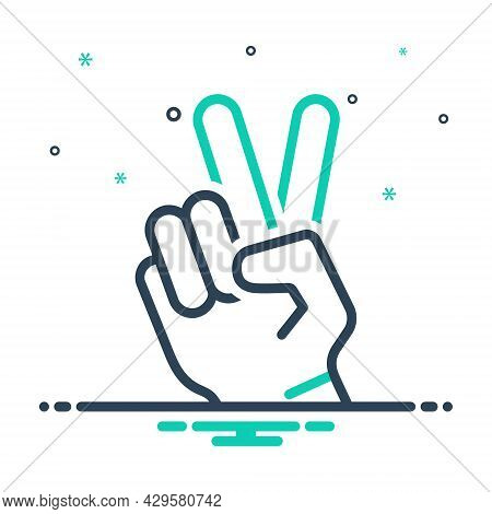 Mix Icon For Victory Hand-showing Peace Gesture Triumph Conquest Success Winning