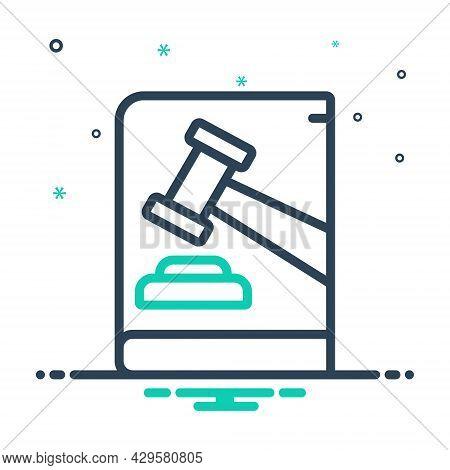 Mix Icon For Law Enactment Lawmaking Authority Judge Legal Hammer Judgement Justice Verdict