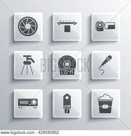 Set Usb Flash Drive, Popcorn In Box, Microphone, Cd Dvd Disk, Movie, Film, Media Projector, Tripod,