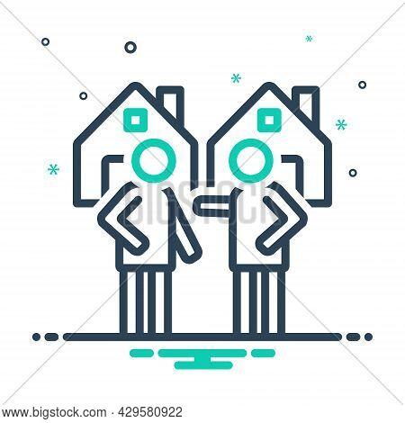 Mix Icon For Neighborhood Nearness Closeness Neighbor Vicinal Neighbour Neighboring Acquaintance Mee