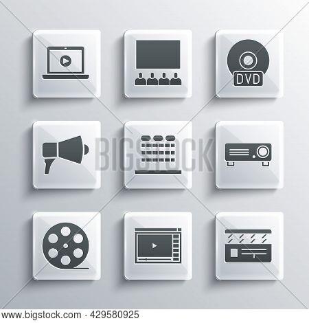 Set Online Play Video, Movie Clapper, Movie, Film, Media Projector, Cinema Auditorium With Seats, Fi