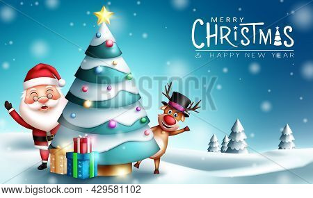 Christmas Characters Vector Design. Merry Christmas Greeting Text With Santa Claus And Reindeer Char