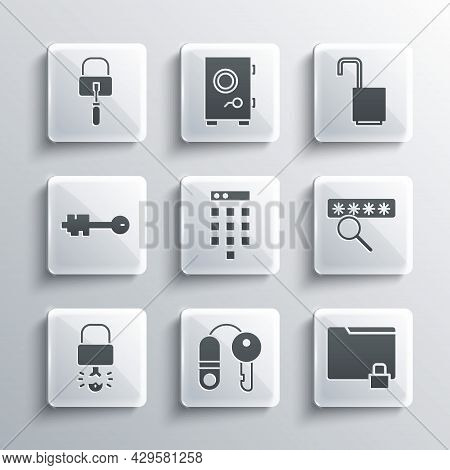 Set House With Key, Folder And Lock, Password Protection, Key Broke Inside Of Padlock, Old, Lock Pic