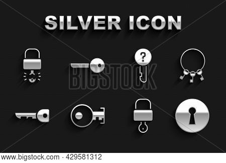 Set Key, Bunch Of Keys, Keyhole, Lock And, Undefined, Broke Inside Padlock And Icon. Vector