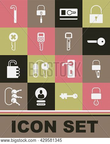 Set Lock And Key, Picks For Lock Picking, Key, Card, Car With Remote, Wrong, Crowbar And Icon. Vecto