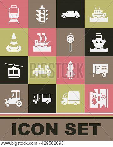 Set Broken Road, Rv Camping Trailer, Cargo Ship, Hatchback Car, Sailboat, Traffic Cone, Train And Ra