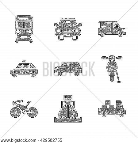 Set Hatchback Car, Cargo Ship, Delivery Truck, Scooter, Bicycle, Taxi, Minibus And Train And Railway