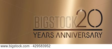 20 Years Anniversary Vector Logo, Icon. Graphic Symbol With Metallic Number For 20th Anniversary