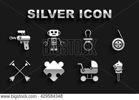 Set Puzzle Pieces Toy, Yoyo, Toy Horse, Baby Stroller, Arrow With Sucker Tip, Dummy Pacifier, Ray Gu