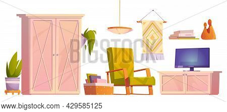 Rustic Living Room Furniture, Armchair, Television Set And Wardrobe. Vector Cartoon Set Of Lounge In