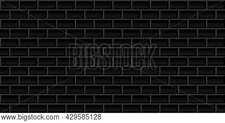 Black Metro Tiles Seamless Background. Subway Brick Horizontal Pattern For Kitchen, Bathroom Or Outd
