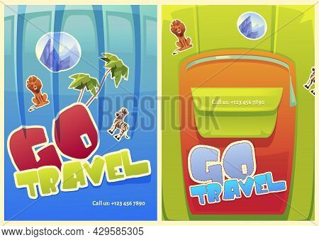 Go Travel Posters With Luggage Bags On Background. Vector Flyers With Cartoon Illustration Of Suitca