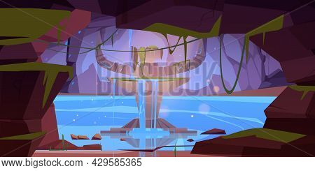 Underground Rocky Cave With Ancient Stone Altar And Flowing Water. Vector Cartoon Illustration Of St