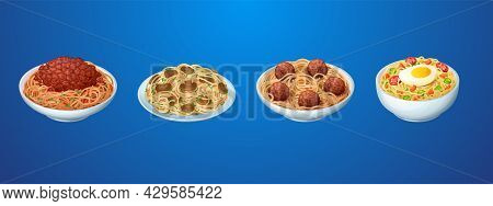 Set Of Pasta Meals, Restaurant Or Homemade Noodles With Sauce Bolognese, Macaroni With Champignon Mu
