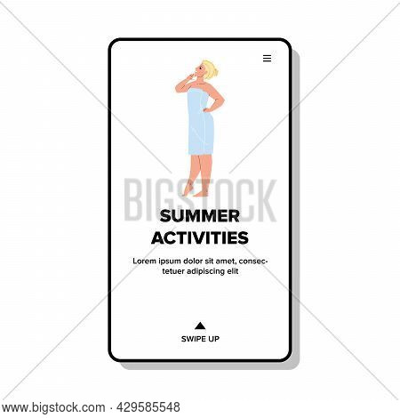 Summer Activities Young Woman On Vacation Vector. Girl Wearing Bath Towel Relaxing In Hotel After Sp