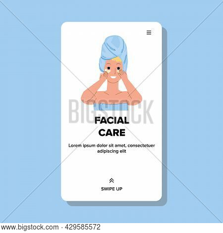 Facial Care Beauty Procedure Treatment Girl Vector. Young Woman Using Face Patch For Facial Care. Ch