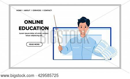 Online Education Lesson Teaching Teacher Vector. Young Man Explaining Lecture Theme On Computer Disp