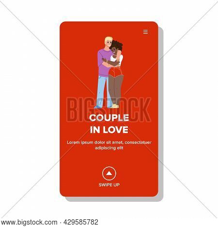 Boy And Girl Couple In Love Hug Together Vector. European Boyfriend And African Girlfriend Couple In