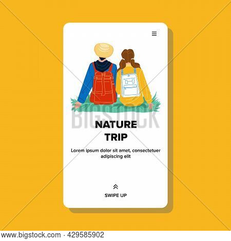 Nature Trip Enjoying Man And Woman Couple Vector. Young Boy And Girl Sitting On Green Grass And Enjo