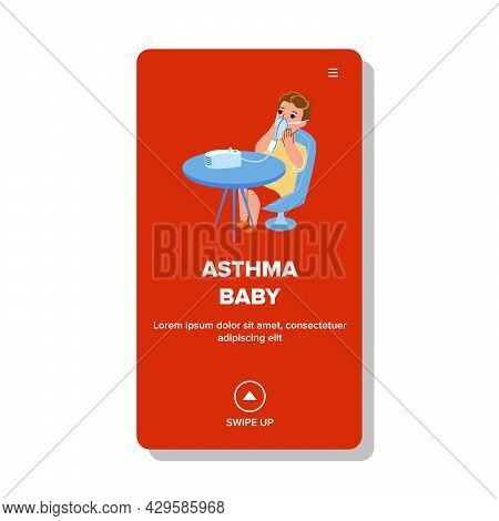 Asthma Baby Breathing Inhaler Medical Tool Vector. Asthma Baby Breath Nebulizer Mask, Healthcare Ele