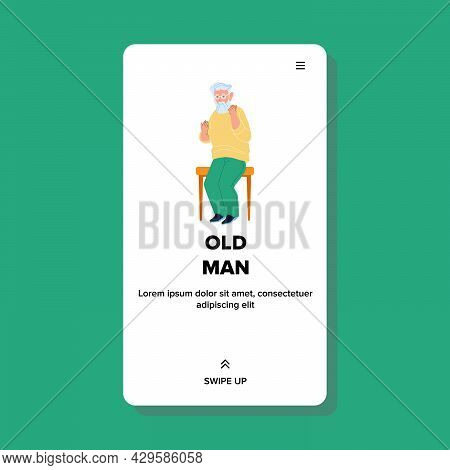 Old Man Sitting On Bench In Park Outdoor Vector. Old Man Grandfather Resting On Chair In Garden Outs