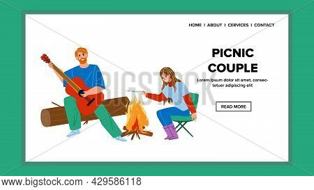 On Picnic Couple Man And Woman Enjoying Vector. Picnic Couple Resting Together, Boy Playing On Guita