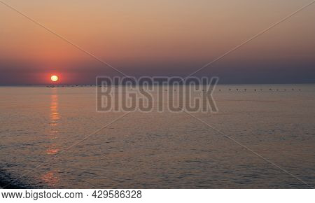 Sunset At The Sea. Evening Sun And Path. Beautiful Sky. Landscape On The Coast. Ocean Shore. Dawn. N