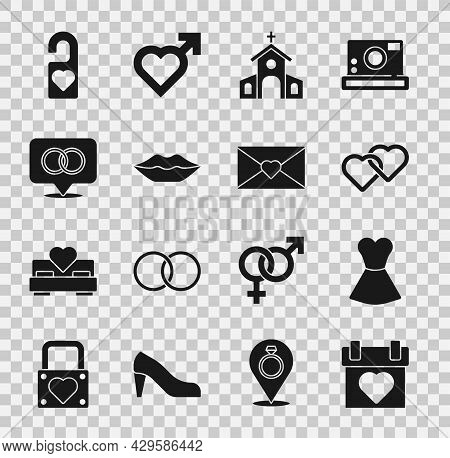 Set Calendar, Woman Dress, Two Linked Hearts, Church Building, Smiling Lips, Wedding Rings, Please D