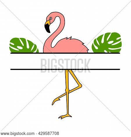Vector Illustration Of Flamingo Monogram In Flat Style Is Isolated On White. Tropical Bird Flamingo