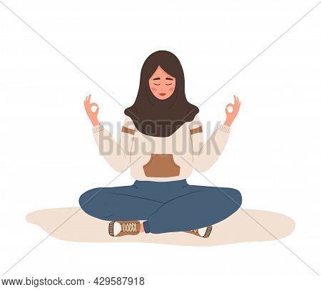 Breath Awareness Yoga Exercise. Arab Woman Practicing Belly Breathing For Relaxation. Meditation For