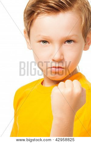 Bad Tempered Kid Showing His Fist
