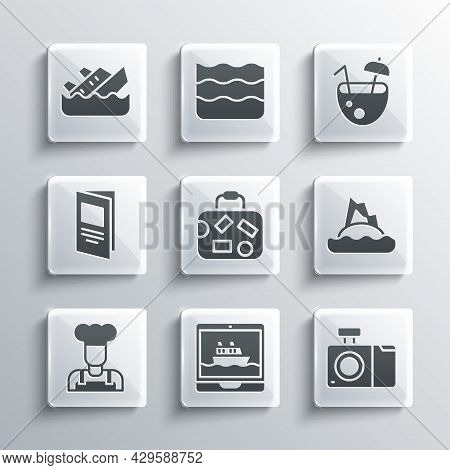 Set Cruise Ship, Photo Camera, Tropical Island In Ocean, Suitcase, Cook, Brochure, Sinking Cruise An