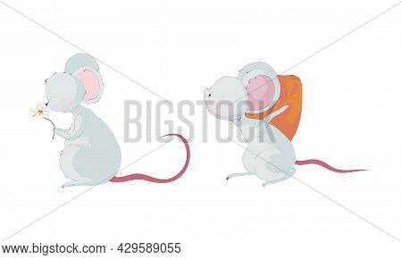 Cute Funny Mouse Characters Set. Lovely Little Mice Carrying Piece Of Cheese And Sniffing Flower Car