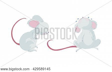 Cute Funny Mouse Characters Set. Lovely Amusing Little Mice Sitting And Crying Cartoon Vector Illust