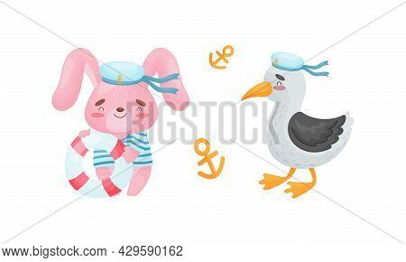 Cute Baby Animals Sailors Set. Funny Bunny, Seagull Captain Characters Cartoon Vector Illustration