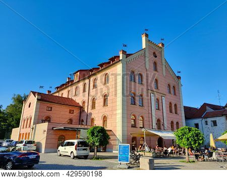 Ceske Budejovice, Czech Republic - July 12, 2021: Pink Hotel Building Which Was A Warehouse In The M