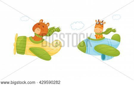 Cute Baby Animals Pilots Set. Funny Bear, Giraffe Pilot Characters Flying By Airplane, Side View Car