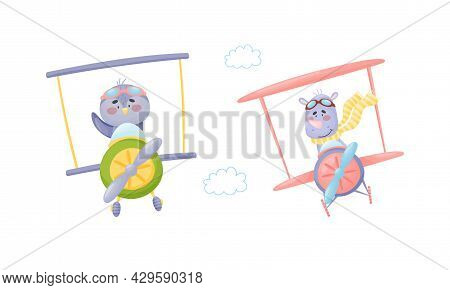 Cute Baby Animals Pilots Set. Funny Bird And Rhino Pilot Characters Flying By Airplane Cartoon Vecto