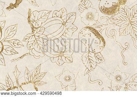 Glittery golden floral patterned background design