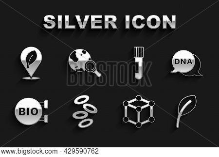 Set Hemoglobin, Dna Symbol, Leaf Or Leaves, Molecule, Bio Healthy Food, Test Tube And Flask, Locatio