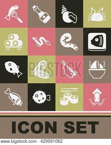 Set Octopus, Shark Fin Soup, Fish Head, Scallop Sea Shell, Eel Fish, Sushi On Cutting Board, Served
