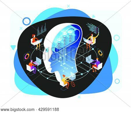 Deep Learning. Big Data And Artificial Intelligence Concept. People Interact With Artificial Intelli