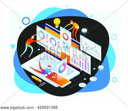 А Team Of People Build A Chart And Graphs. Concept Of The Idea Of Innovative Data Analysis. Data Ana