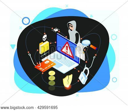 Hacker Attack And Web Security Vector Concept, Phishing Scam. Netwrok And Internet Security. Anti Vi