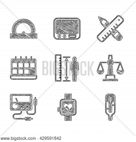 Set Measuring Height Body, Smart Watch, Medical Thermometer, Scales Of Justice, Multimeter, Voltmete