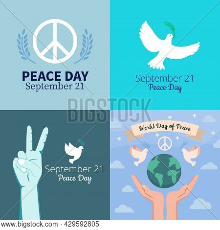 Set Of Flat Vector Illustrations. Hand Gesture Peace V, Pacific Sign, Earth And Pigeon. Internationa