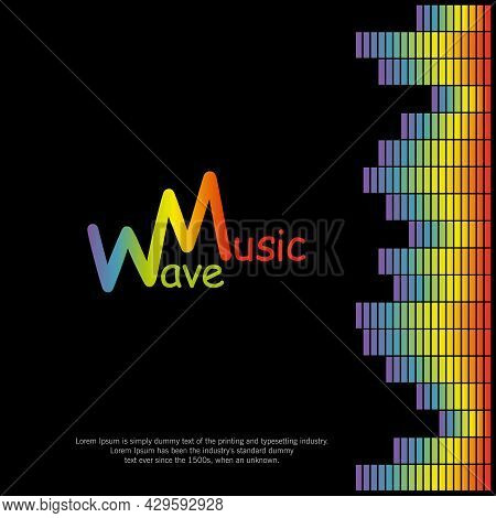 Pulse Music Player On Black Background. Poster With Rainbow Equalizer Element. Audio Colorful Sound